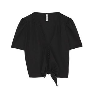 Zara TRF Button Up Crop Top With Knot